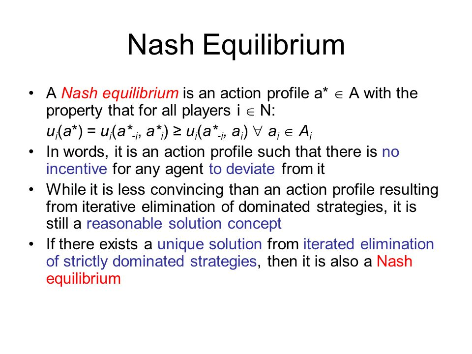 game theory unique equilibrium How to compute all nash equilibria in an example of a  the unique pure strategy equilibrium  browse other questions tagged game-theory nash-equilibrium or ask.