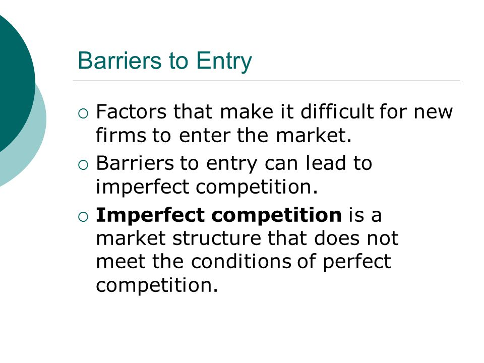 barriers to entry of new firms Threat of new entrants definition there are very low barriers to entry as new competitors profit potential for the existing firms new entrants are deterred.