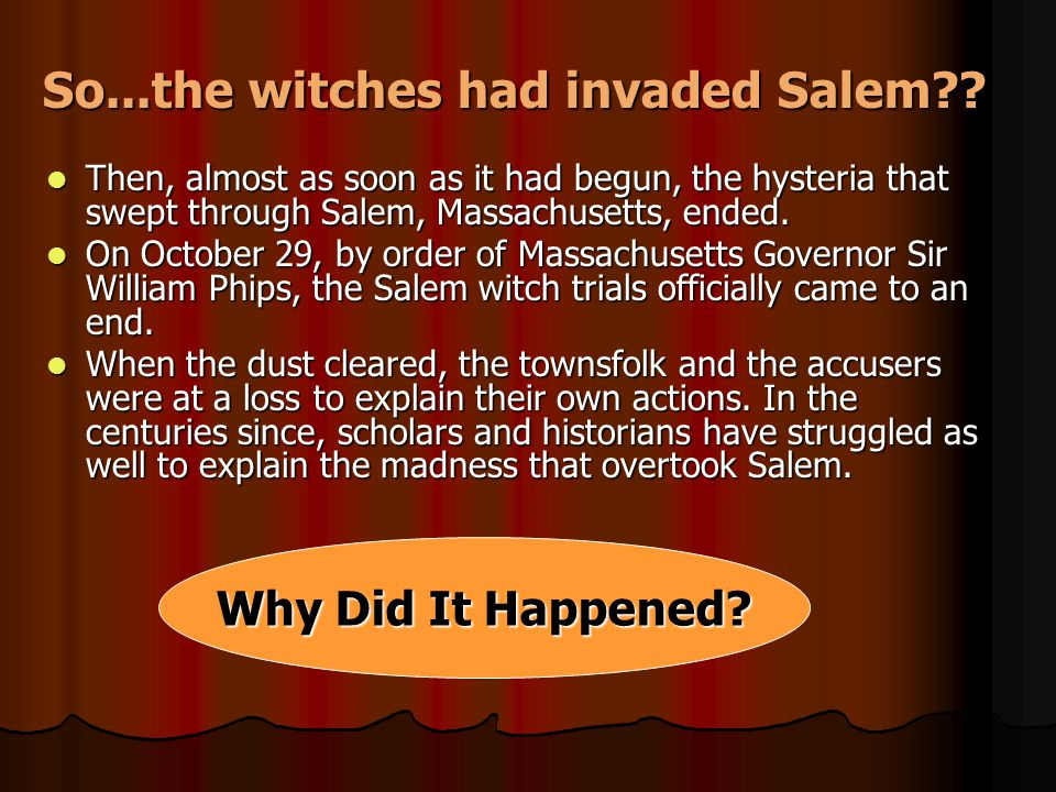 the madness in the salem witch trials Hathorne hill's legacy of witchcraft, madness, and literary genius by matt staggs september 22, 2017   they were the last victims of the salem witch trials.