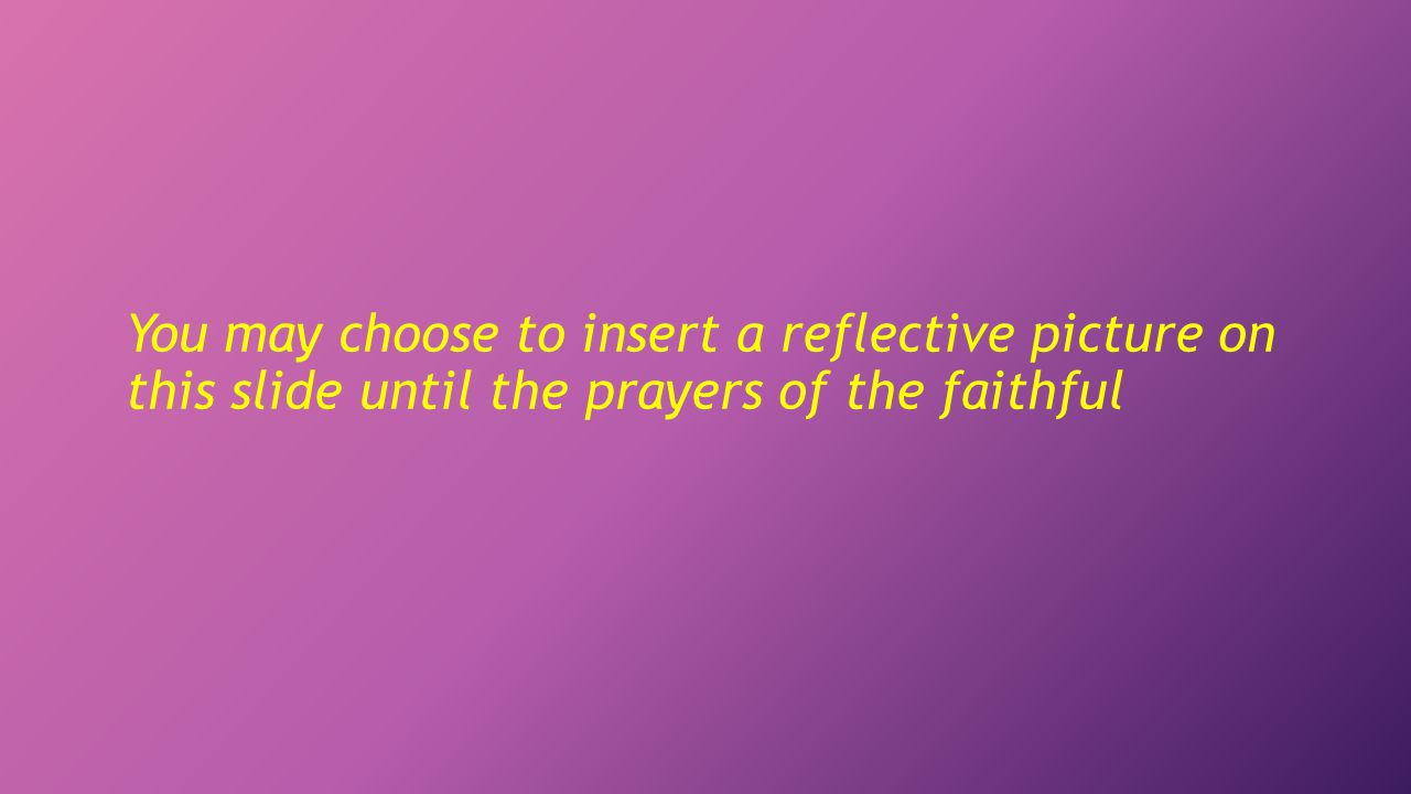 You may choose to insert a reflective picture on this slide until the prayers of the faithful