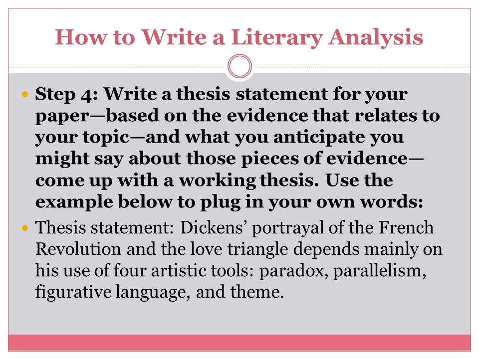 thesis statement for literature paper