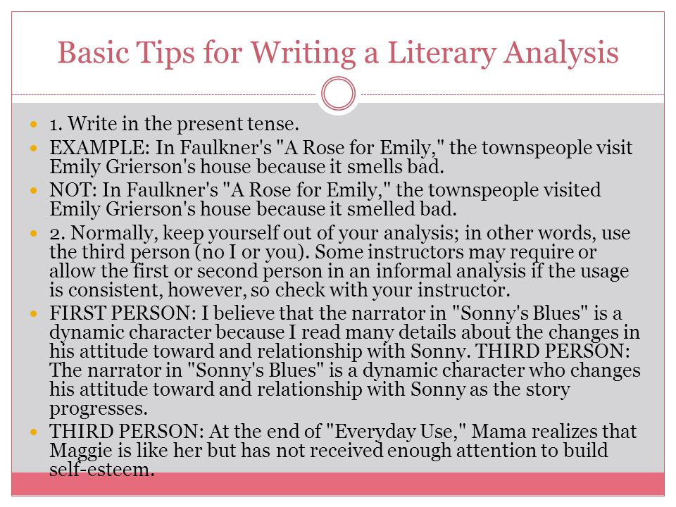 thesis sonny s blues and a rose for emily Basic tips for writing a literary analysis 1  in faulkner's a rose for emily, the  i believe that the narrator in sonny's blues is a dynamic.