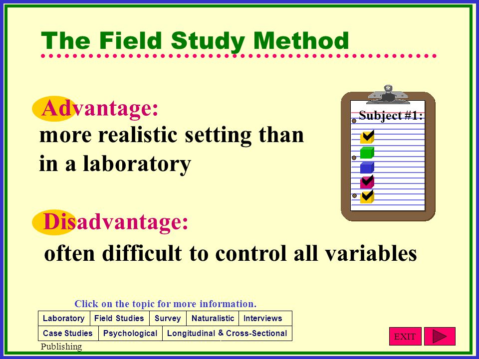 advantages and disadvantages of observational research Observational studies fall under the category of analytic study designs and are further sub-classified as observational or experimental study designs (figure 1)the goal of analytic studies is to identify and evaluate causes or risk factors of diseases or health-related events.