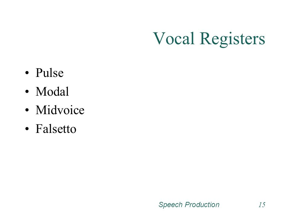 Vocal Registers Pulse Modal Midvoice Falsetto Speech Production