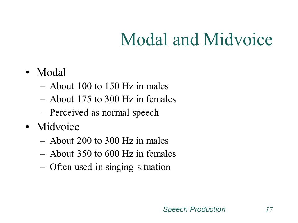 Modal and Midvoice Modal Midvoice About 100 to 150 Hz in males