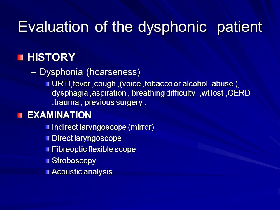Evaluation of the dysphonic patient