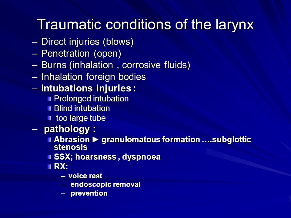Traumatic conditions of the larynx