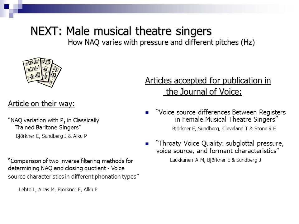 NEXT: Male musical theatre singers How NAQ varies with pressure and different pitches (Hz)