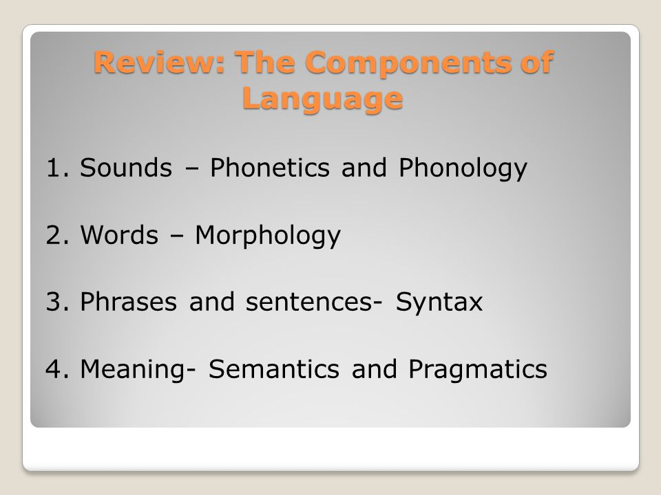 Review: The Components of Language