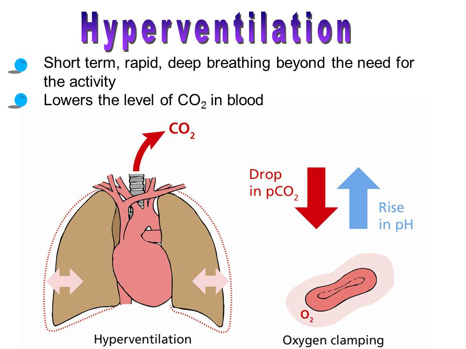 Hyperventilation Short term, rapid, deep breathing beyond the need for the activity. Lowers the level of CO2 in blood.