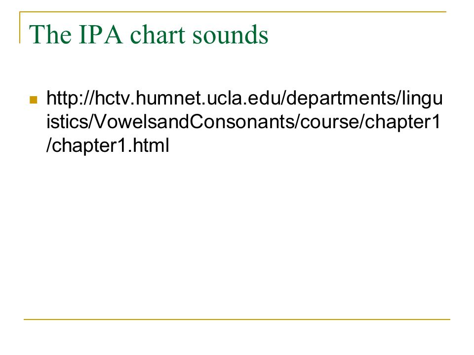 The IPA chart sounds