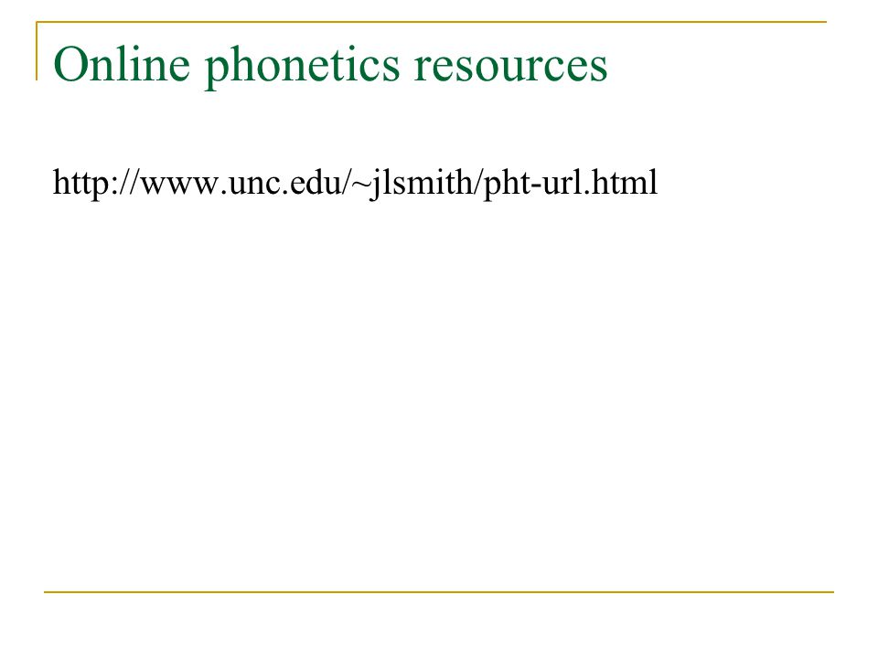 Online phonetics resources