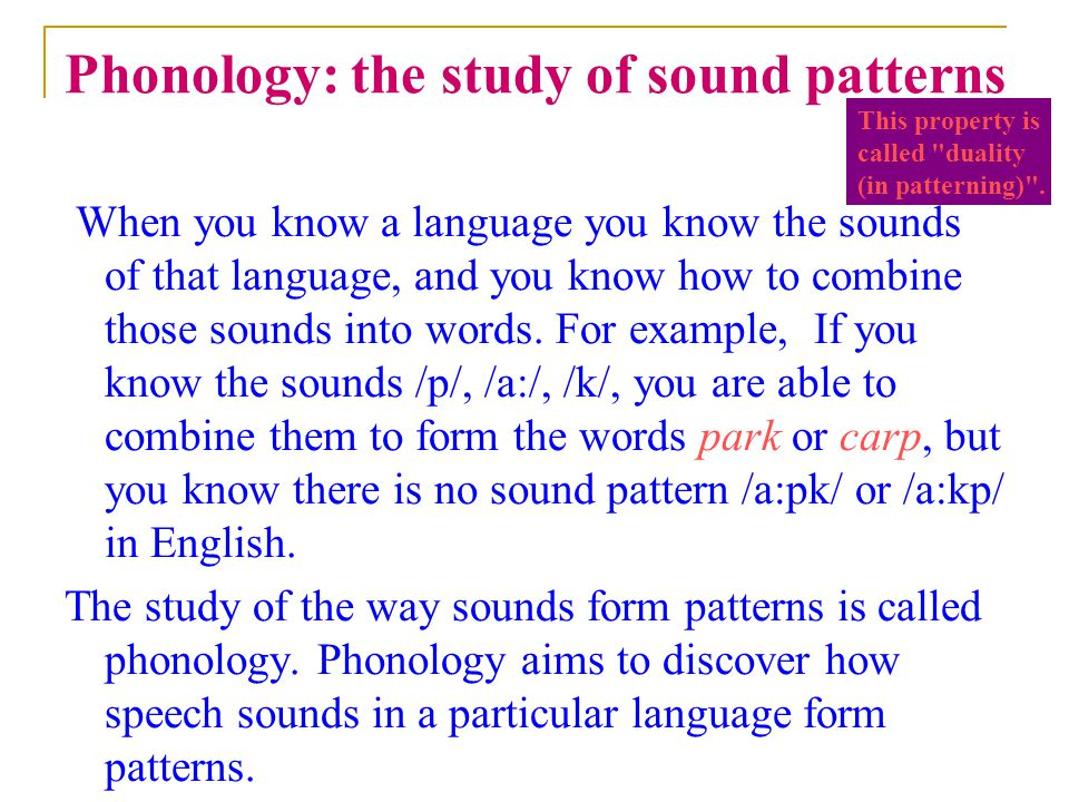 Phonology: the study of sound patterns