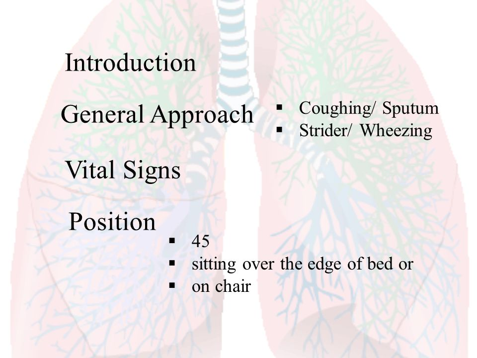 Introduction General Approach Vital Signs Position Coughing/ Sputum