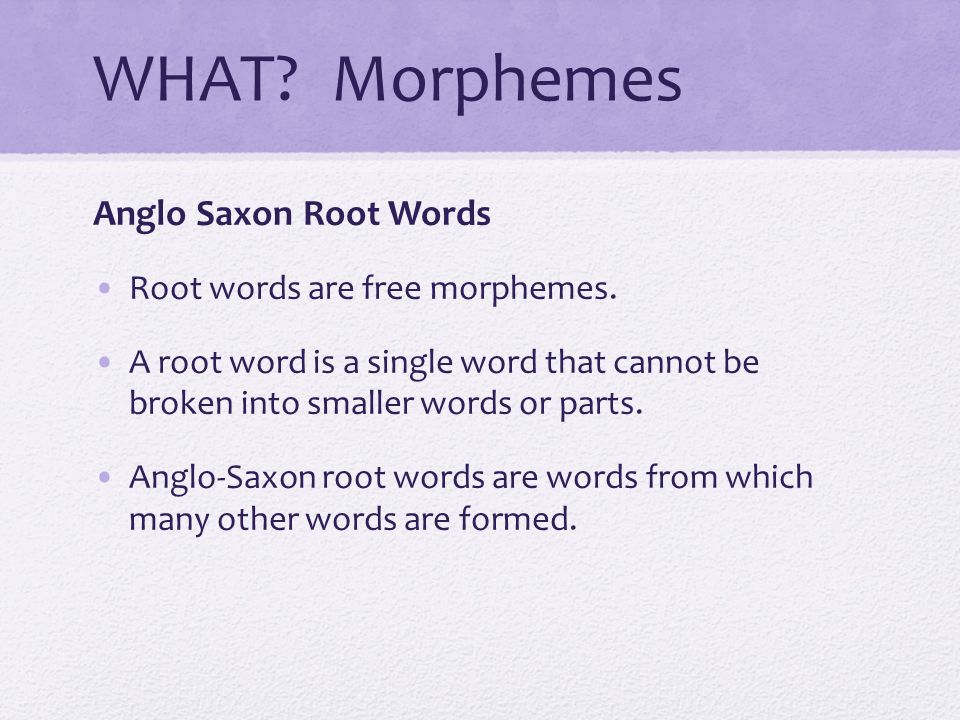 WHAT Morphemes Anglo Saxon Root Words Root words are free morphemes.
