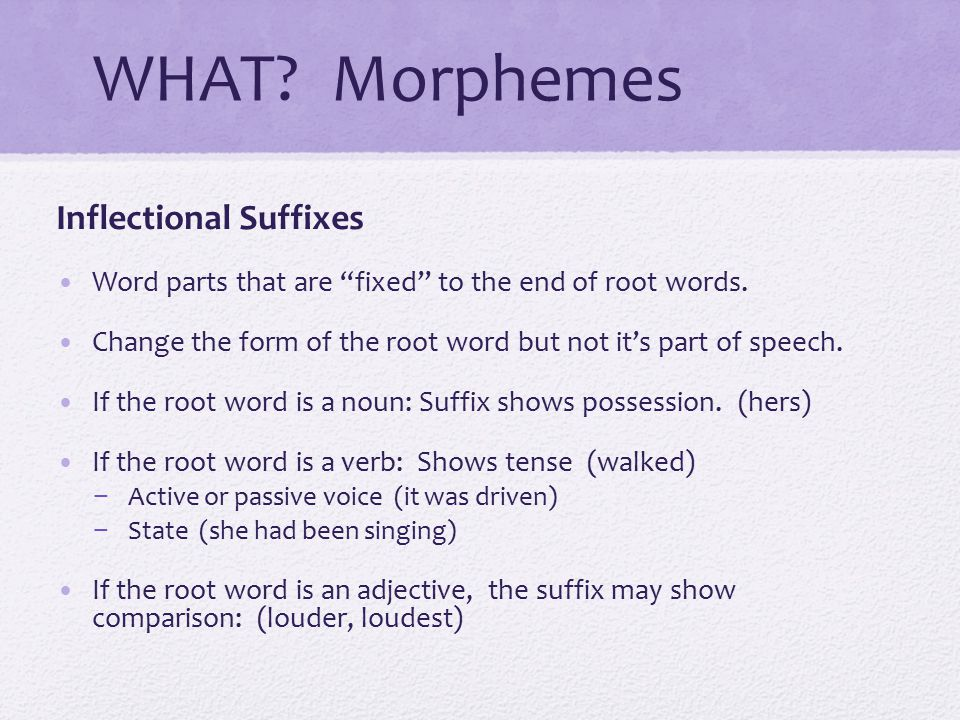 WHAT Morphemes Inflectional Suffixes