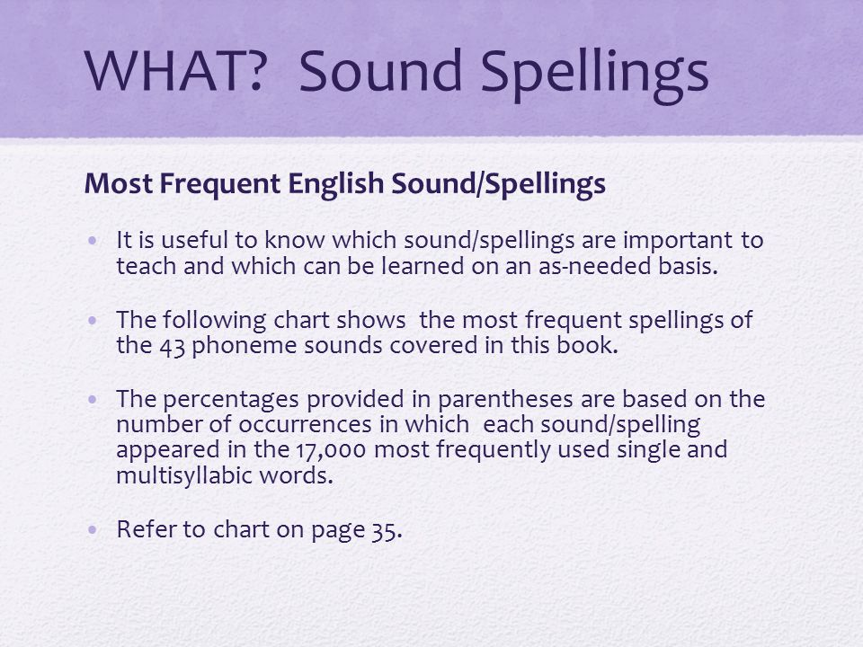 WHAT Sound Spellings Most Frequent English Sound/Spellings