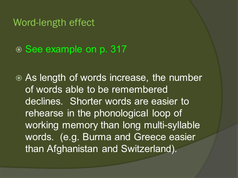 what is the word length effect The effect of questionnaire length on response rates --a review of the literature karen bogen, us bureau of the census 1 csmr/srd, room 3133-4, washington, dc 20233.