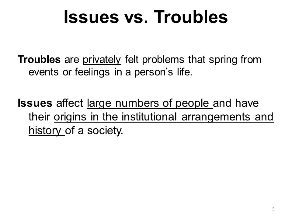 personal troubles social issues c w mills Personal troubles public issues personal troubles public issues mills examples from  cw mills ' the sociological  2 the perspective that one has on social.