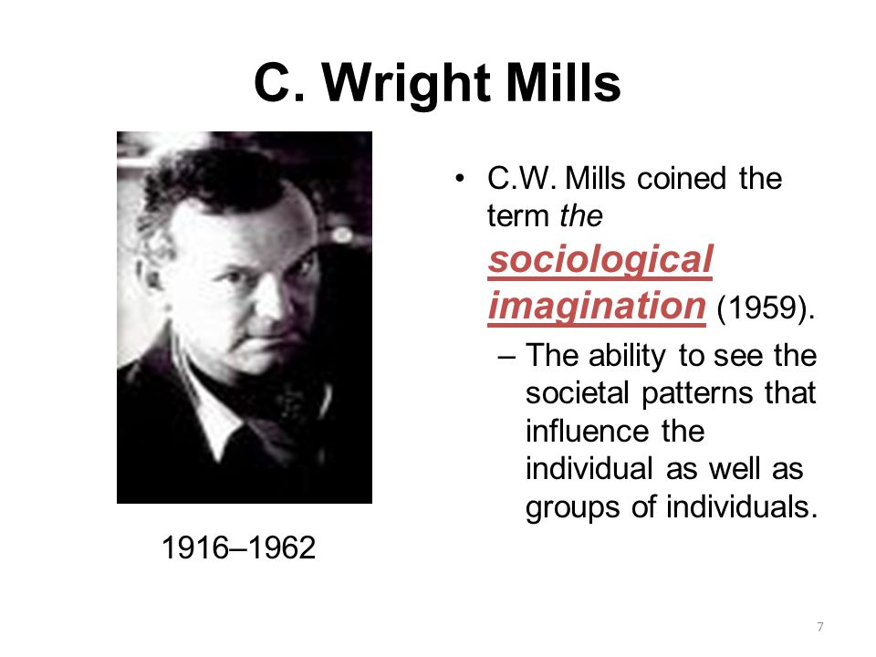 the sociological imagination by c. wright mills essay View and download sociological imagination essays social imagination is therefore a sociological excerpt from c wright mills, 'the sociological imagination.