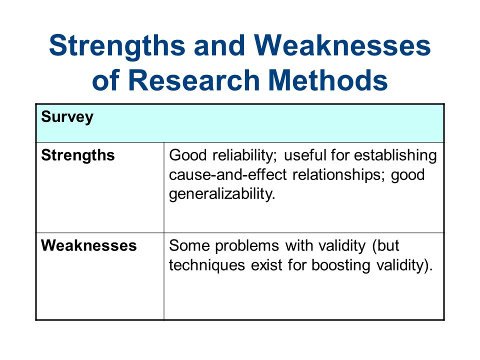 compare the strengths and weaknesses of quantitative Limitations and weakness of quantitative research methods by priya chetty on september 7, 2016  according to saunders et al (2009), research methodology serves as the backbone of a research study quantitative research's main purpose is the quantification of the data it allows generalisations of the results by measuring the views and.