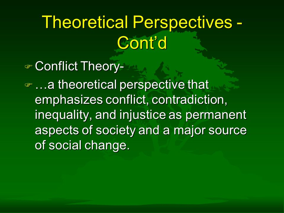 Theoretical Perspectives - Cont'd
