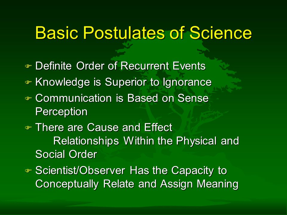 Basic Postulates of Science