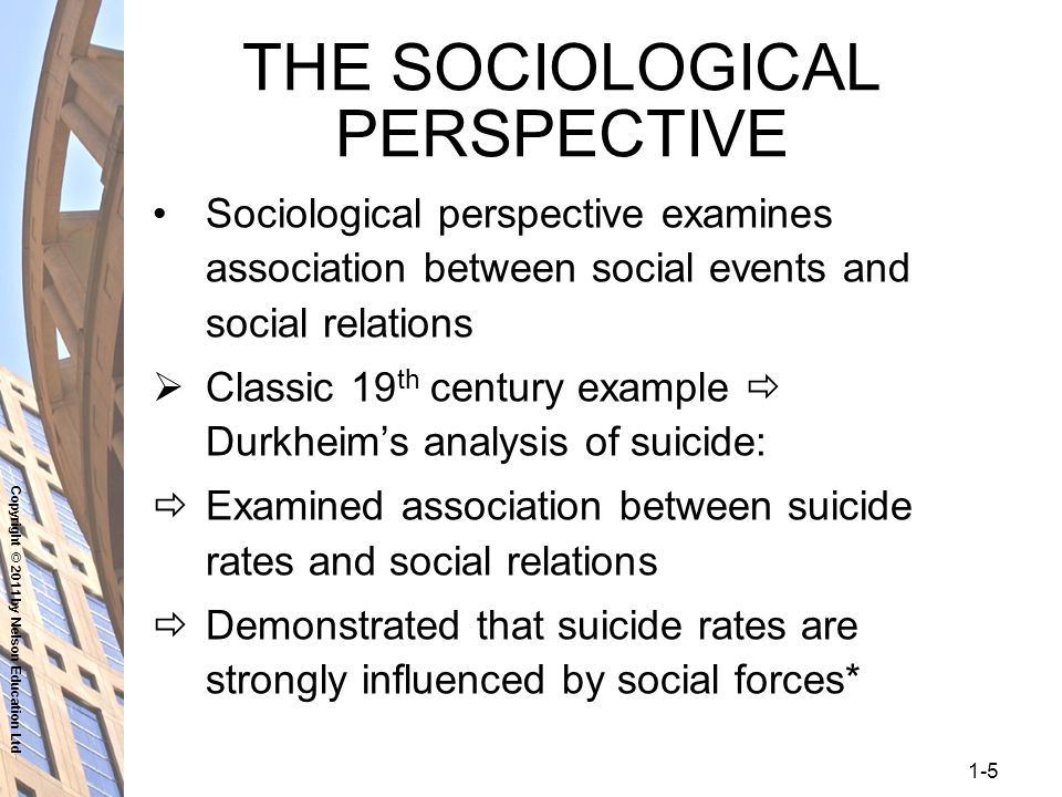 "sociological theories of suicide We have talked repeatedly about ""a"" sociological perspective, as if all  sociologists  to test his theory, durkheim gathered suicide rate data and found  that."
