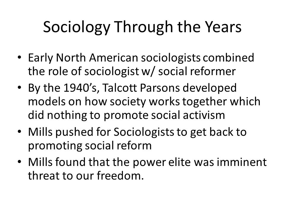 Sociology Through the Years