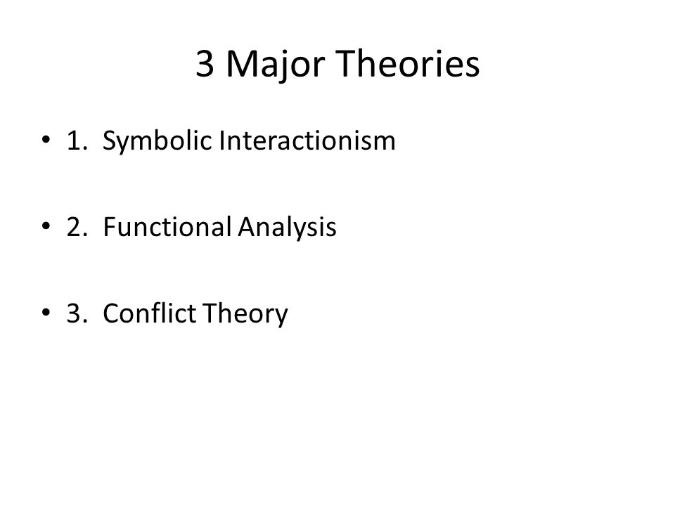 3 Major Theories 1. Symbolic Interactionism 2. Functional Analysis
