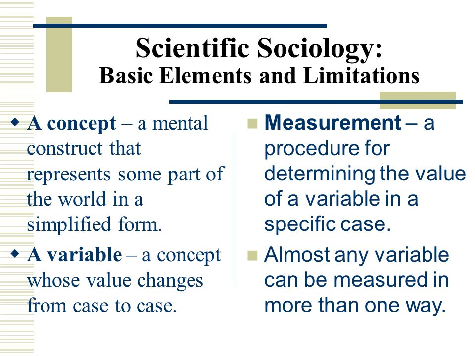 Scientific Sociology: Basic Elements and Limitations