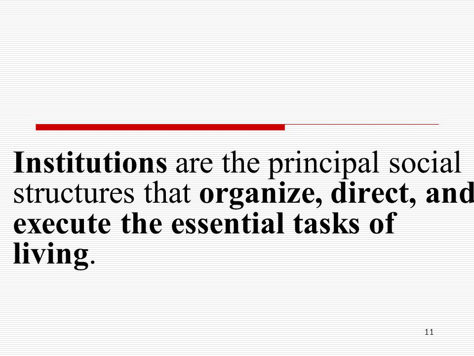Institutions are the principal social structures that organize, direct, and execute the essential tasks of living.