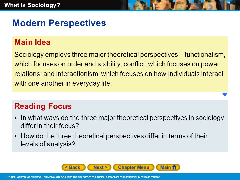three major theoretical perspectives in sociology The three major theoretical perspectives in sociology - introduction sociologists develop theories to compare and contrast the three perspectives in sociology.