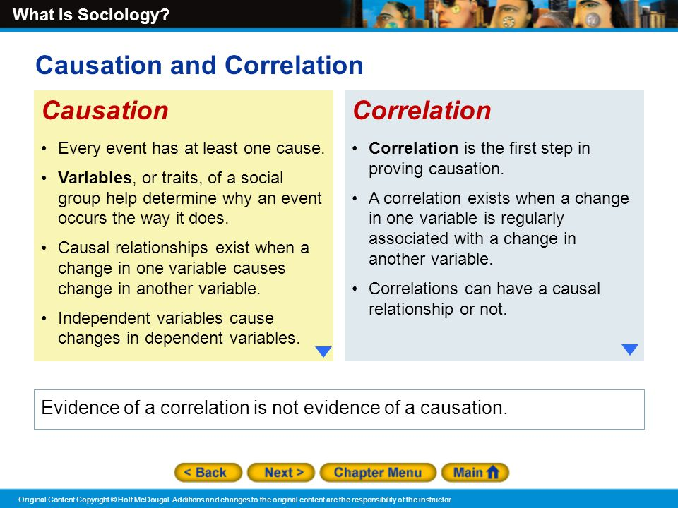 checkpoint causation and correlation Causation and correlation causation and correlation check-point psy/285 social psychology correlation and causation are two important concepts it is important to understand the difference between correlation vs causation with respect to research findings, if there is a significant correlation between two things it is merely stating that we can predict one thing from the other.