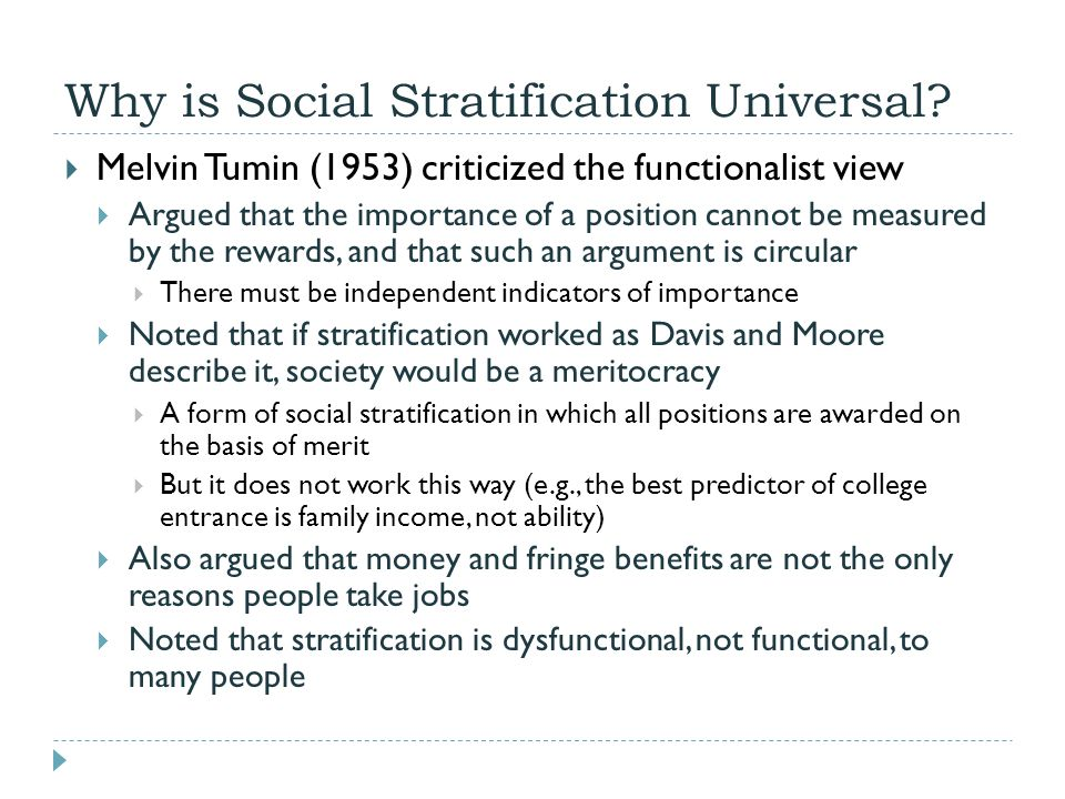 conflict view tumin and simpson of social stratification Start studying sociology ch 7, 8, 9 theorists is most strongly associated with the structural functionalist view of social stratification tumin and simpson.