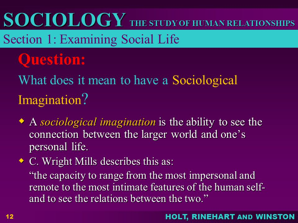 a sociological perspective on personal life Start studying sociology chapter 1 : the sociological perspective learn vocabulary, terms, and more with flashcards, games, and other study tools.