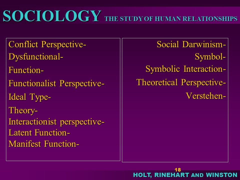 sociology and a functionalist perspective The functionalist perspective is based largely on the works of herbert spencer, emile durkheim, talcott parsons, and robert merton according to functionalism, society is a system of.