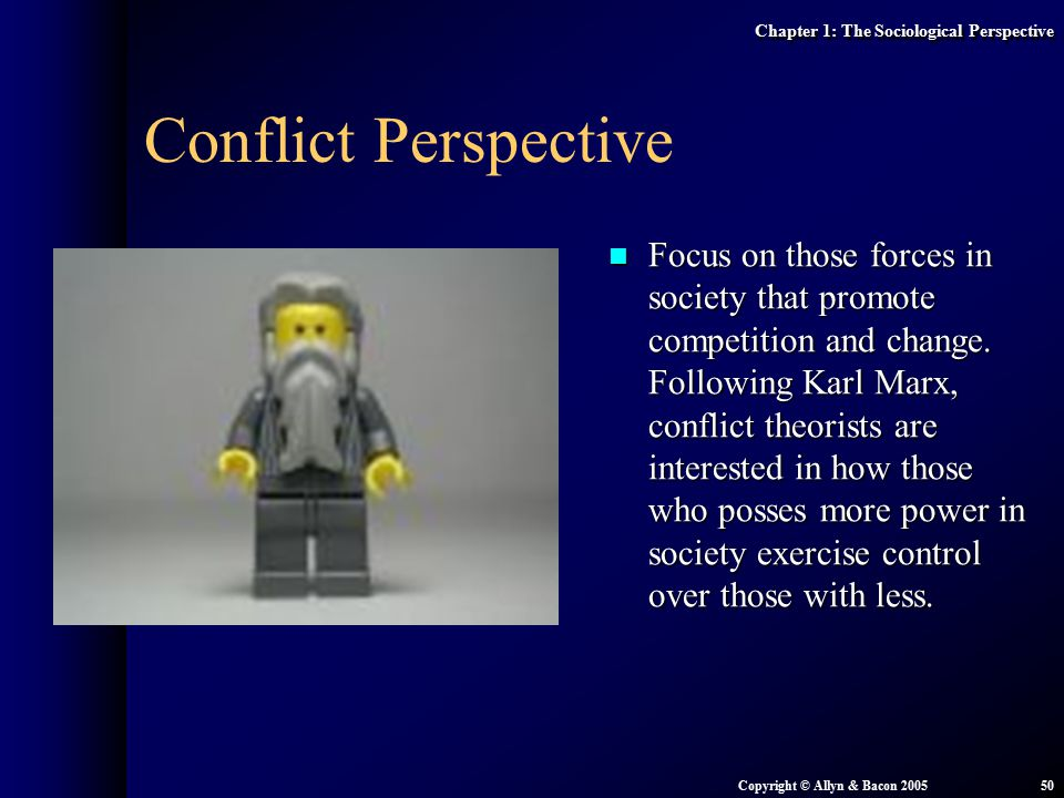 the conflict perspective views society less Under the conflict perspective we can say that the basic form of interaction in society is not cooperation, but competition, and this leads to conflict because the individuals and groups of society compete for advantage, there is constantly conflict for change.