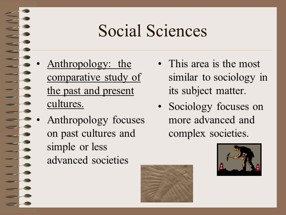 Social Sciences Anthropology: the comparative study of the past and present cultures.