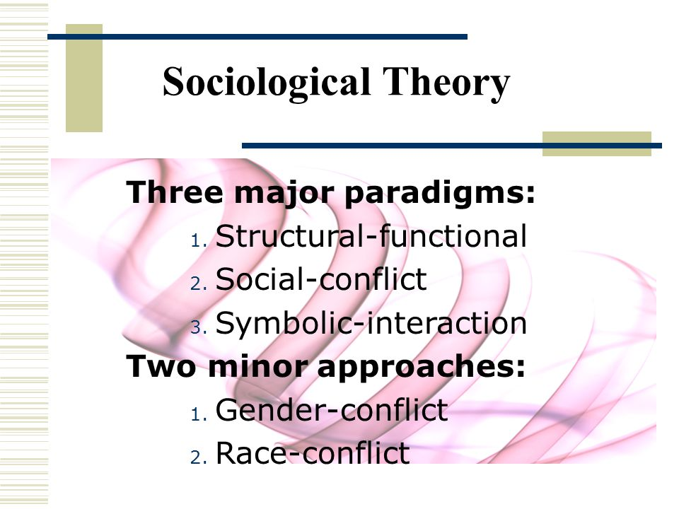 Sociological Theory Three major paradigms: Structural-functional