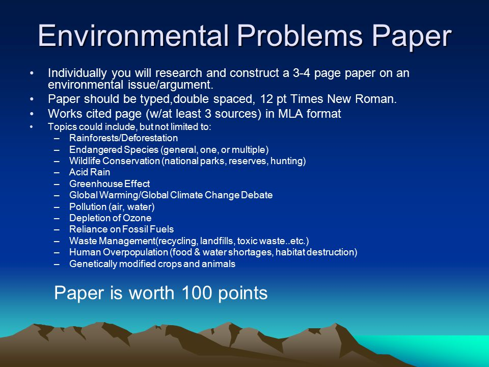 term papers on the environment