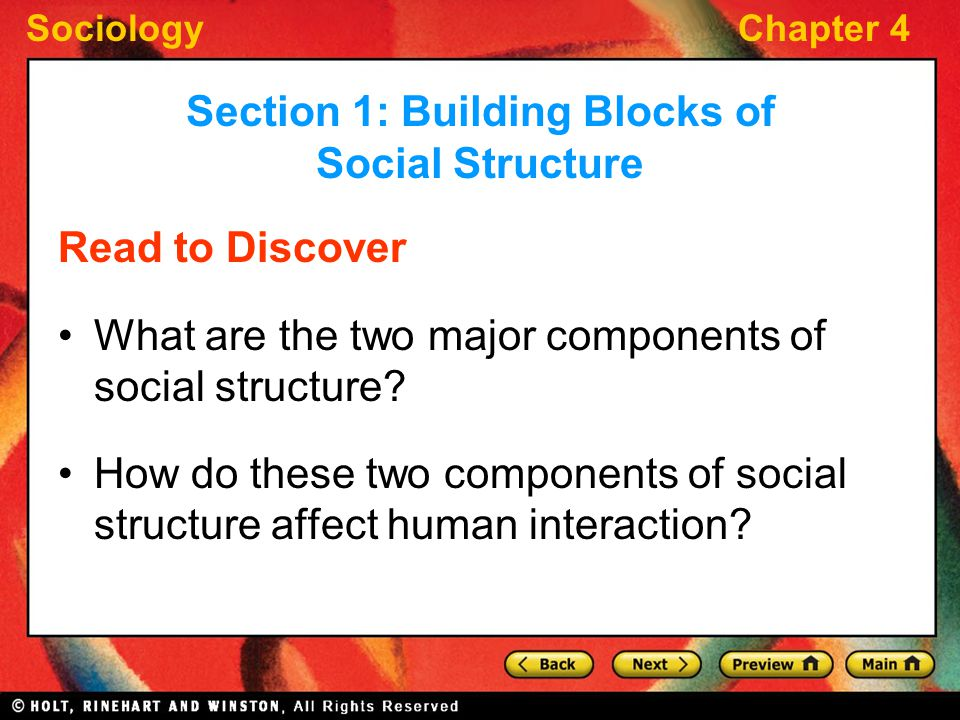 Section 1: Building Blocks of Social Structure