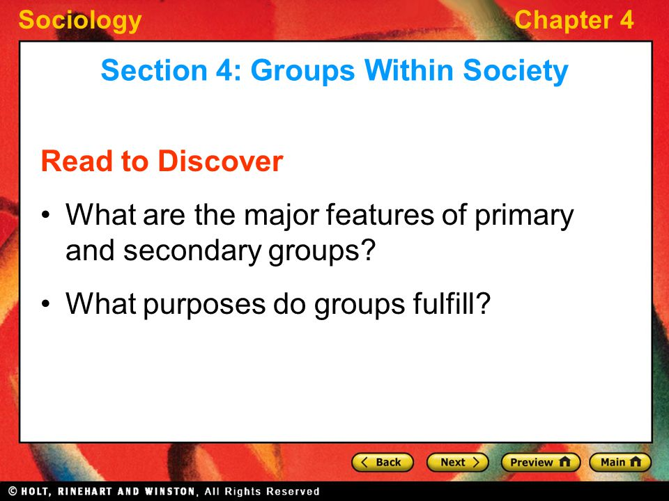 Section 4: Groups Within Society