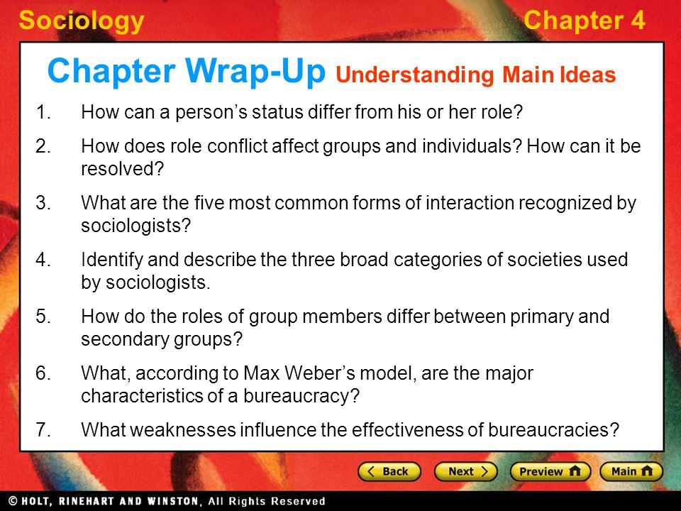 Chapter Wrap-Up Understanding Main Ideas