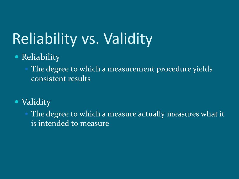 reliablity vs validity Measurement is an important part of the scientific process the key aspects concerning the quality of scientific measures are reliability and validity.