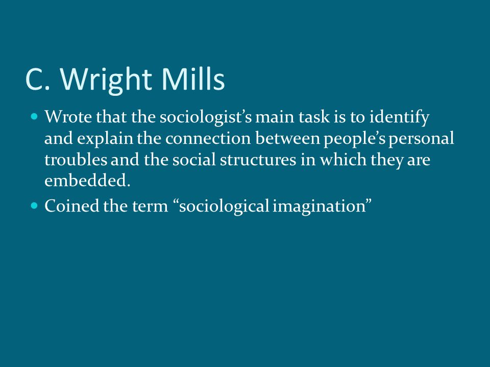 c wright mills the sociological imagination essay The sociological imagination cw mills (1916­1962) most of his writings during the 50's brief history political climate of the 1950's ­ conservative.