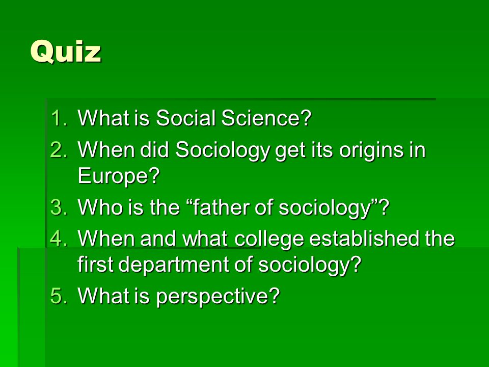 Quiz What is Social Science