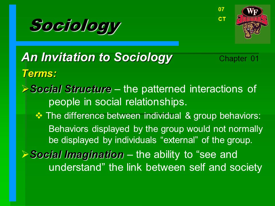 Sociology An Invitation to Sociology Chapter 01 Terms: