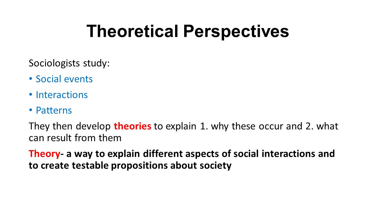theoretical perspectives sociology explain theoretical per Gcse sociology - theoretical approaches  what they see depends on their theoretical perspective  what is an analogyg explain what we mean when we.