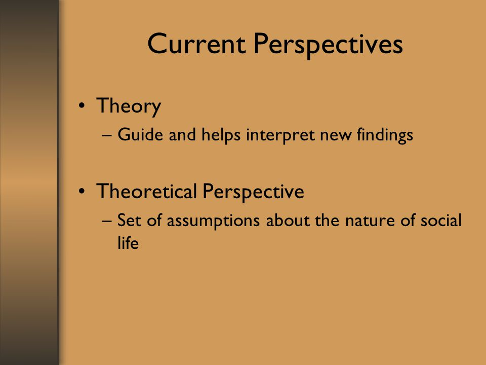 Current Perspectives Theory Theoretical Perspective